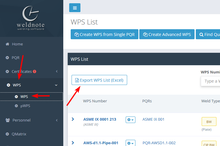 Export a list of WPS' (Excel) – WeldNote Help Center